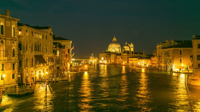 Time Lapse: View of famous Canal Grande and Basilica di Santa Maria della Salute at night in Venice, Italy