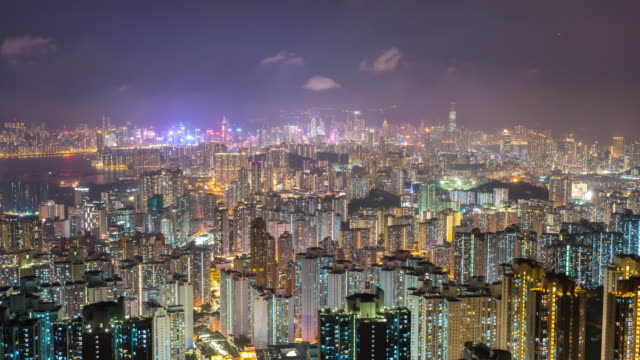 4K Time Lapse : view of high rise skyscraper buildings in Hong Kong city. modern city business district background at night