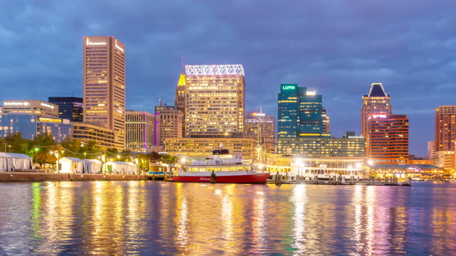time lapse view of inner harbor area in downtown baltimore maryland usa - maryland us state stock videos & royalty-free footage