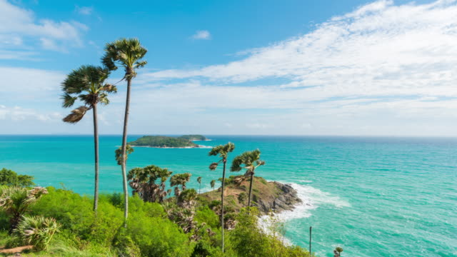 4k time lapse : view of landscape promthep cape at phuket island, thailand - high dynamic range imaging stock videos and b-roll footage