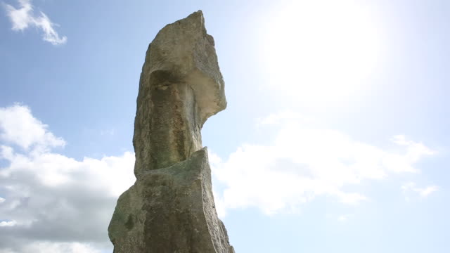 Time lapse view of limestone pinnacle, mountains behind
