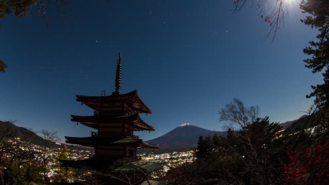 Time lapse view of Mt. Fuji from Mt. Arakura at night
