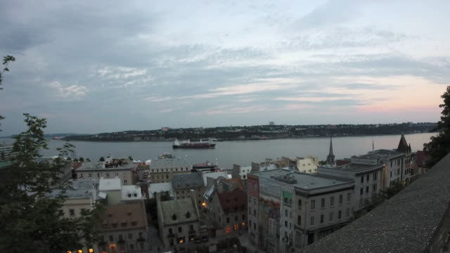 Time lapse view of Old Quebec City and St. Lawrence River