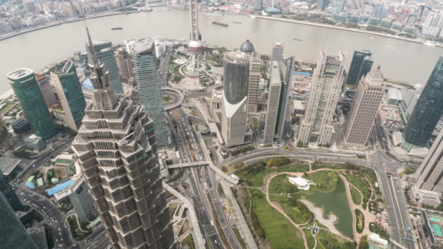 time lapse view of shanghai skyline / shanghai, china - pearl stock videos and b-roll footage