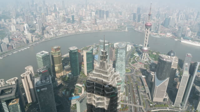 time lapse view of shanghai skyline / shanghai, china - jin mao tower stock videos & royalty-free footage