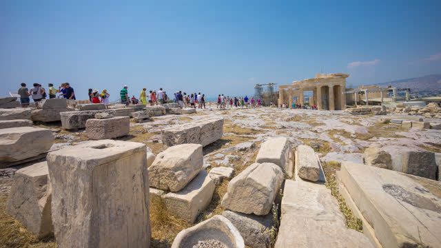 time lapse view of the parthenon in acropolis in athens greece - parthenon athens stock videos & royalty-free footage