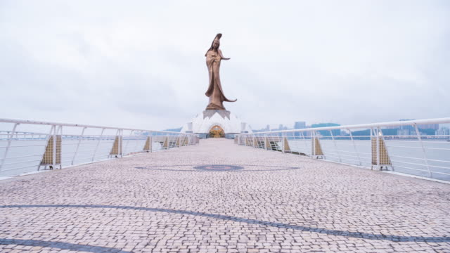 4K Time Lapse : View of The Statue of Guanyin in macau China