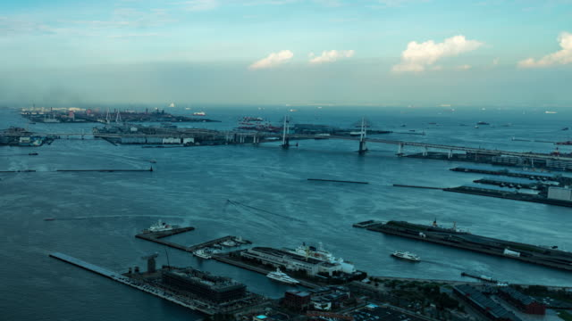 time lapse - view of tokyo bay and minato mirai 21 / yokohama, japan - tokyo bay stock videos & royalty-free footage