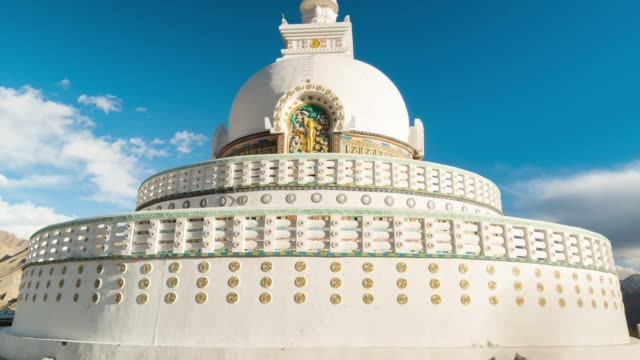 4k time lapse : view shanti stupa in norther part of india  ,mountains snow peaks on season winter in leh district, ladakh jammu and kashmir - stupa stock videos & royalty-free footage