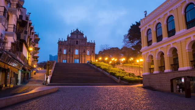 Time Lapse : view sunrise of Saint Paul's Church at Macao China
