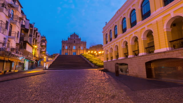 4K Time Lapse : view sunrise of Saint Paul's Church at Macao China