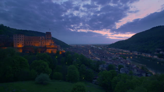 time lapse. view to the heidelberg castle, city of heidelberg and river neckar. - neckar river stock videos & royalty-free footage