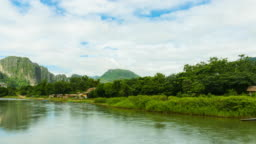 Time lapse Views of the river and mountains of Vang Vieng in Laos.