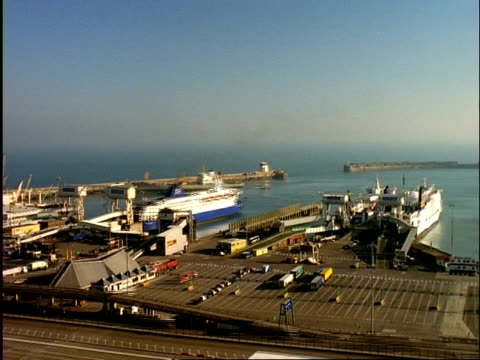 archival time lapse - wa ferries coming in and out of ferry terminal, dover, day to dusk - dover england stock videos and b-roll footage