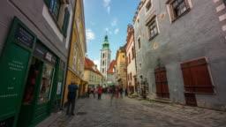 Time Lapse Walking of Tourist Crowd in Cesky Krumlov Old Town, Czech Republic
