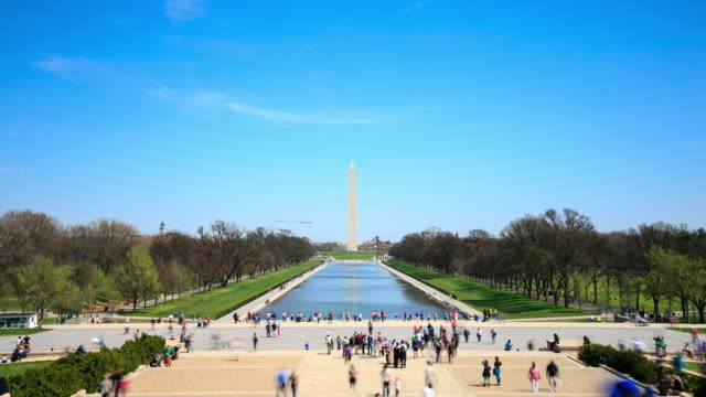 vídeos de stock e filmes b-roll de 4 k time lapse: monumento de washington - washington dc