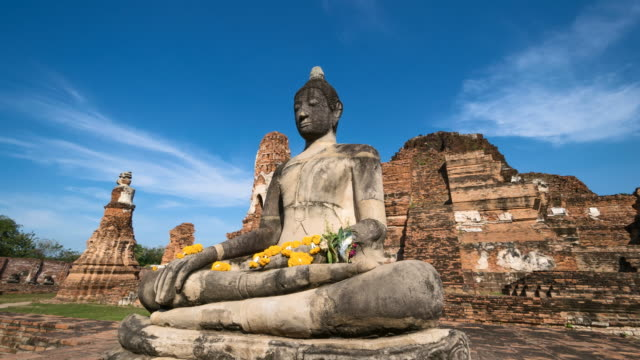 4K Time lapse : Wat Mahathat a landmark old temple in Ayutthaya Province, Thailand