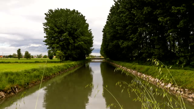 Time Lapse - Water canal with moving clouds