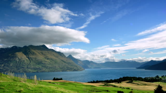Time lapse Wide shot  Deer Park Heights with  Lake Wakatipu in foreground / Queenstown, New Zealand