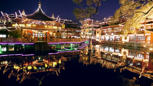 Time lapse wide shot Huxingting Teahouse (Mid-Lake Pavilion Teahouse) at Yuyuan Garden at night / Shanghai