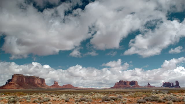 time lapse wide shot pan clouds passing over monument valley on the navajo reservation / southwest usa - navajo reservation stock videos and b-roll footage