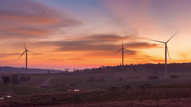 4K Time Lapse : Windmills for electric power production at sunset,Phetchabun Province, Thailand