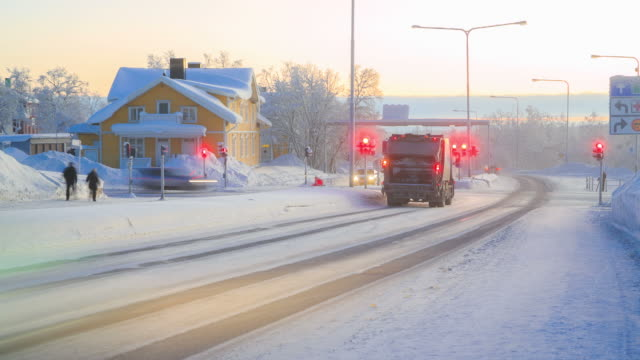 Time Lapse: Winter Cityscape Rush Hour in Kiruna Sweden