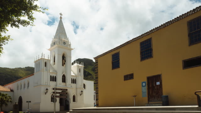 4K Time lapse with landscape, clouds and a historic church from 1570, Tenerife, Spain