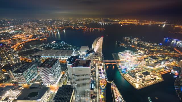 4k time lapse : yokohama city at night, yokohama, japan. - yokohama stock videos and b-roll footage