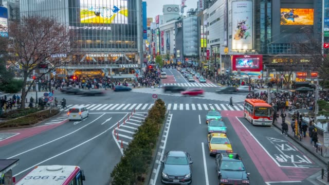 4k time lapse - zoom in crowd people walking with car transportation at shibuya crossing at evening - shibuya tokyo japan - pedestrian stock videos & royalty-free footage