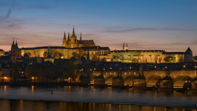 4K Time Lapse zoom in: Prague Castle with the river and Charles Bridge at Prague ,Czech Repubblic