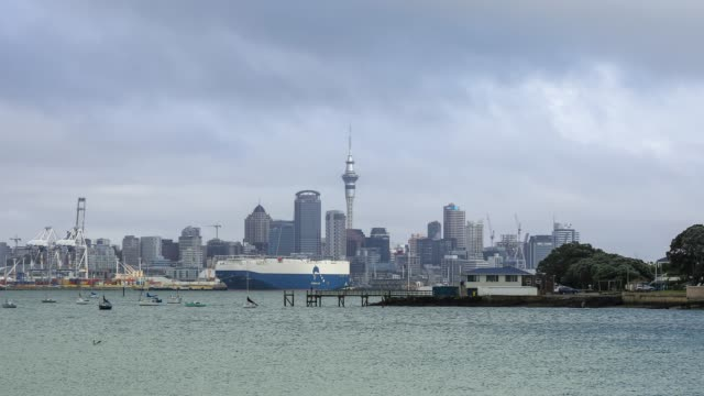4k time lapse zoom out : auckland city is famous landmark in new zealand. - harbour stock videos & royalty-free footage