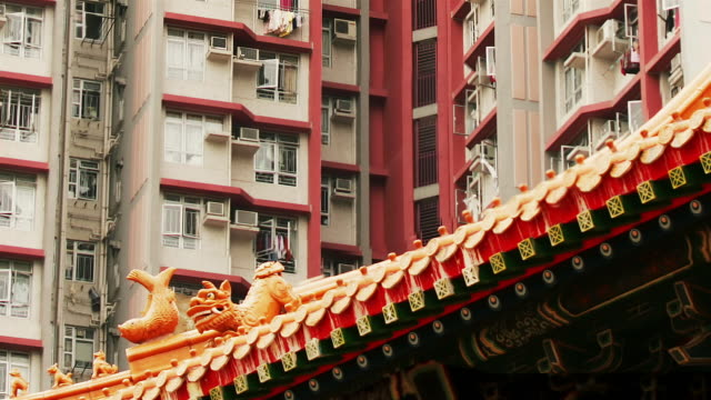 Time lapse zoom out from exterior of apartment building down to people lighting incense at Wong Tai Sin Temple / Hong Kong