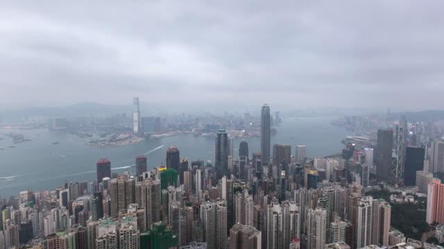 Intervalo de tempo/4 k/Skyscrapers de Hong Kong, dia para nigth/Hong Kong, China