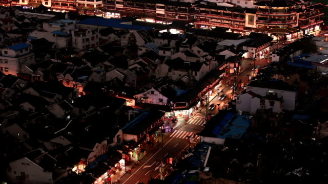 Time lapse:Aerial view of Shanghai street with old building blocks ,close to Yu Garden