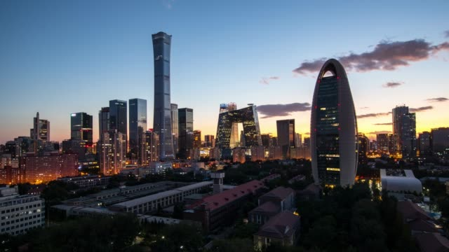 time lapse-beijing skyline at dusk - beijing stock videos & royalty-free footage