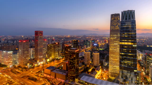 time lapse-beijing skyline - pechino video stock e b–roll