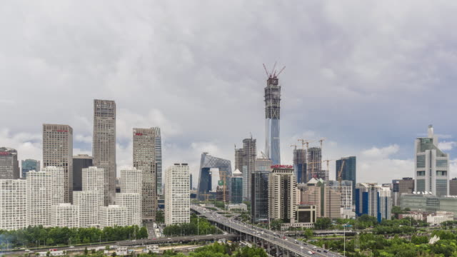 time lapse-beijing skyline - beijing stock videos & royalty-free footage