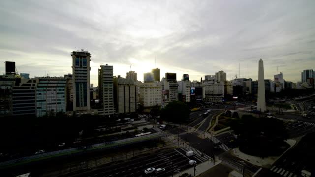time lapse:birds eye of avenida  in buenos aires - avenida 9 de julio stock videos & royalty-free footage