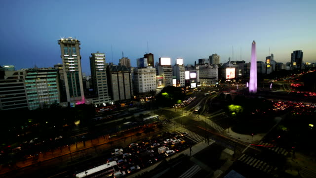 Time lapse:Birds eye of Avenida  in Buenos Aires
