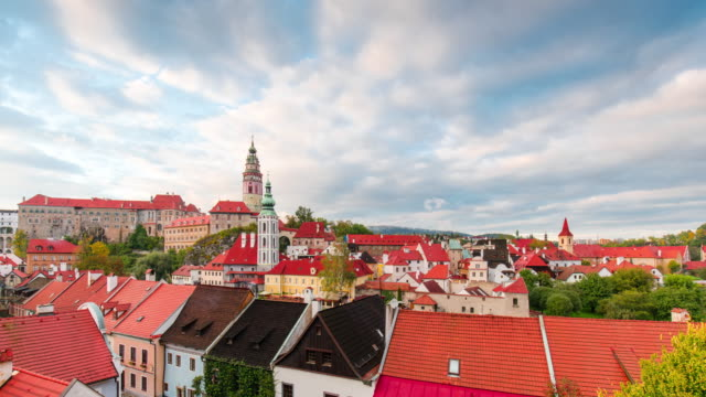 time lapse-cityscape of cesky krumlov - eastern european culture stock videos & royalty-free footage