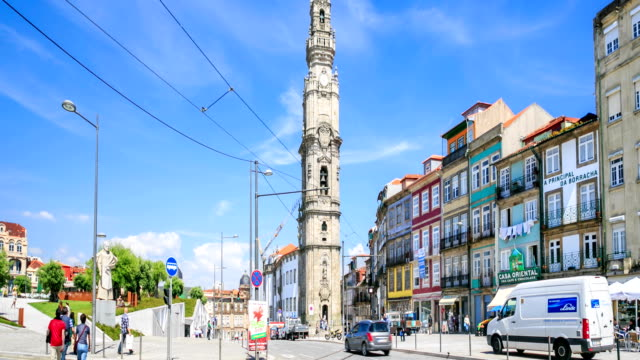 Time lapse:Clerigos tower in Porto - Portugal