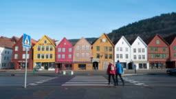 Time lapsed of Bryggen Hanseatic Wharf