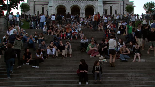 Time lapsed view of the steps at the Church of Sacre Coeur