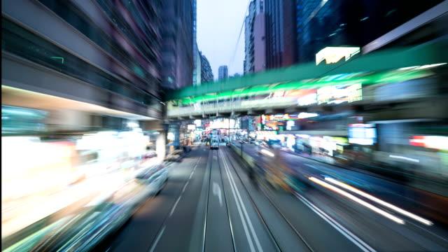 "Time lapse-""dangdang"" bus drive down in Hong Kong"