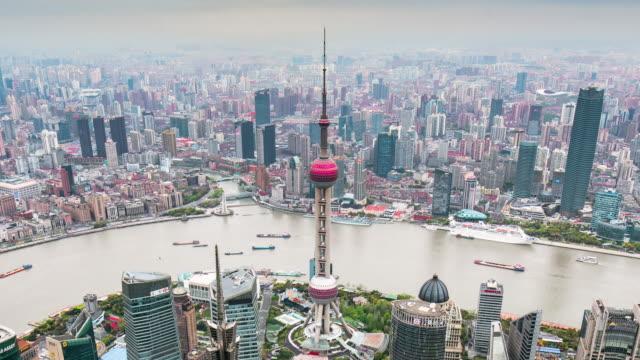 Time Lapse-förhöjd utsikt över Shanghais skyline