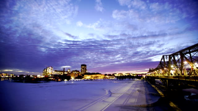 time lapse:gatineau city and bridge with a beautiful sunset - ottawa stock videos and b-roll footage