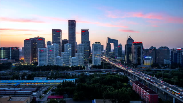 time lapse-night on beijing central business district buildings skyline - beijing stock videos & royalty-free footage