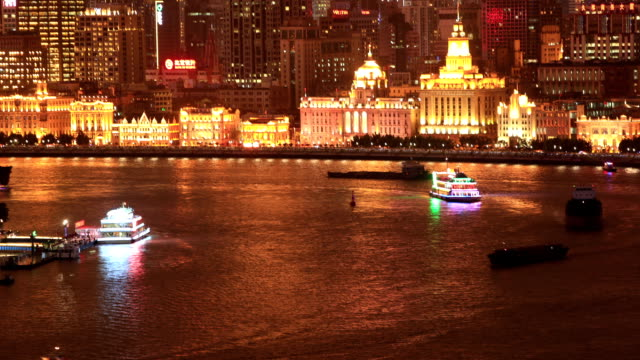 Time lapse:Tourism boat sailing in the Huangpu river.Backoground is the Shanghai bund