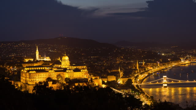 Time Lapse,Transportation around Buda Castle at dusk, Budapest